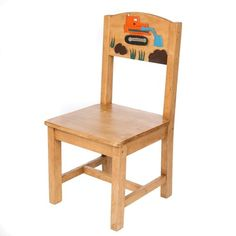 Just Kids Budding excavators will love this digger themed children's chair! Its sturdy wooden frame is skilfully hand painted with a brightly coloured digger on the backrest. This fabulous fair trade item is handcrafted by talented artisans. Cool Desk Chairs, Wooden Table And Chairs, Table And Chair Sets, Arm Chairs, Upholstered Swivel Chairs, Chair And Ottoman, Childrens Desk And Chair, Just Kids, Mini Chair