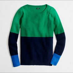 J Crew 100% Cashmere Color Block Sweater Great J Crew waffle sweater, 100% cashmere, size S J. Crew Sweaters Crew & Scoop Necks