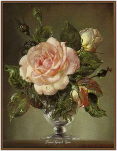 Still Life with Rose by Cecil Kennedy Art Floral, 10 Tattoo, Decoupage, British Flowers, Still Life Art, Botanical Art, Beautiful Paintings, Oeuvre D'art, Vintage Flowers