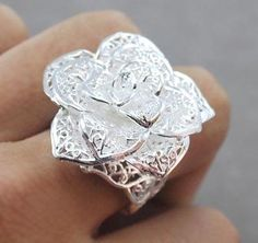 """925 Sterling Silver Flower Ring """"Free Shipping"""""""