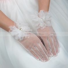 Ivory Tulle Wrist Length Floral Wedding Gloves with Rhinestone