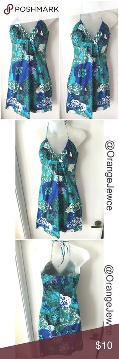 H&M Blue/Green Floral Halter Dress H&M Blue/Green Floral Halter Dress. 100%  Cotton. Machine wash, Line Dry, Low Iron. Back has elastic and a side zipper. Very fitted, like an XSmall. Only wore twice. Perfect for a beach vacation! H&M Dresses