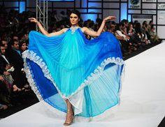 A model presents a creation by Pakistani designer Deepak Perwani on the last day of the Fashion Pakistan Week in Karachi late on April 10, 2012.