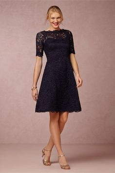 Short navy blue lace mother of the bride dress with sleeves Evelyn BHLDN