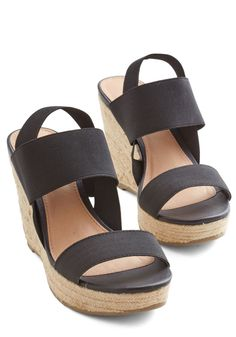 Stand by Your Bands Wedge in Black. Come what may, youll cling to these black wedges! #black #modcloth