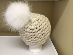 Super Chunky Alpaca Hat  Very Large Raccoon by HandmadeKnitsHats