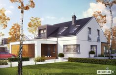 Projekty domów ARCHIPELAG - Edgar II G2 ENERGO PLUS Simple House Design, House Extensions, Home Fashion, Small Towns, My House, New Homes, Exterior, Mansions, House Styles