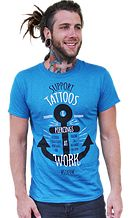 Mens anchor blue shirt from STAPAW fighting discrimination of tattoos and piercings in the workplace. Extra tattoo clothing for men like this at www.stapaw.com/#!shop/c10t6.   Antique Sapphire blue anchor shirt Gildan 5000 unisex cut. REPIN this awesome shirt!