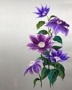 Long And Short Stitch, Thread Painting, Clematis, Designs To Draw, Wild Flowers, Glass Vase, Photo Wall, Embroidery, Drawings