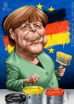 Angela Merkel caricature by Marzio Mariani (All Rights Reserved) #Celebrity #Caricatures #Oddonkey