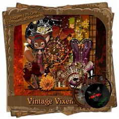 Vintage Vixen - Vintage/Steampunk themed digital taggers kit composed of 12 (800 x 800 pixel, .jpg) papers and 40 .png elements, including one Little Flapper Fox poser by ©English Rose Designs.  300 DPI. Personal use only. Created for the September Dusk 2 Dawn blog train.