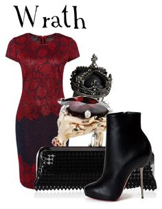 """""""7 deadly sins: Wrath"""" by rernuslupin ❤ liked on Polyvore featuring Femme Metale Jewelry, St. John and Christian Louboutin"""