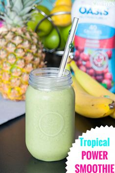 Tropical Power Smoothie - don't let the green fool you! This power smoothie is loaded with antioxidants, vitamins and protein PLUS it tastes like a tropical vacation. Power Smoothie, Energy Smoothies, Healthy Smoothies, Healthy Drinks, Smoothie Recipes, Healthy Snacks, Snack Recipes, Healthy Recipes, Healthy Eating
