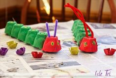 Caterpiller egg carton craft you only need green and red paint, pipe cleaners, and some pom poms  for the eyes