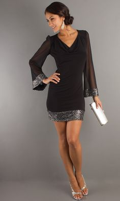 Sexy Long Sleeve Short Dress, Sexy Black Dresses - Simply Dresses