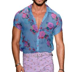 BLUE FLORAL HAWAIIAN SHIRT Loose Fit Button Up Summer Pool Beach Festival S-3XL