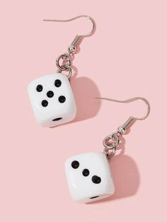 Shop Dice Dangle Earrings at ROMWE, discover more fashion styles online. Diy Clay Earrings, Funky Earrings, Polymer Clay Jewelry, Earrings Handmade, Dangle Earrings, Diamond Earrings, Pendant Necklace, Weird Jewelry, Funky Jewelry