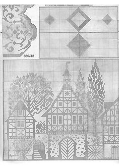 New Ideas Crochet Doilies Filet Cross Stitch Filet Crochet Charts, Crochet Diagram, Knitting Charts, Knitting Stitches, Cross Stitch House, Cross Stitch Charts, Cross Stitch Patterns, Crochet Patterns, Crochet Curtains