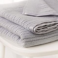 Buy Satin Edged Cellular Blanket - Grey - from The White Company Cot Blankets, Knitted Blankets, The White Company, Nursery Furniture, White Furniture, Cashmere Baby Blanket, Cellular Blanket, Baby Warmer, Soft Furnishings
