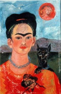 Frida Kahlo - Self-portrait 1954 After Frida was in such severe pain that she was no longer able to work without taking painkillers, sometimes with alcohol. This was Frida's last self-portrait. Diego Rivera Frida Kahlo, Frida And Diego, Mexican Artists, Mexican Folk Art, Frida Paintings, Oil Paintings, Frida Art, Robert Rauschenberg, Edward Hopper