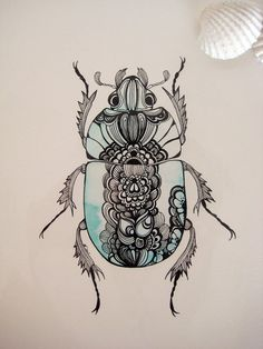 Beetle Series: Dors Beetle Original Illustration (Turquoise). £20.00, via Etsy.