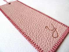 Leather bookmark by susanholland from Spain Leather Belts, Pink Leather, Leather And Lace, Leather Bookmarks, Light Mint Green, Book Marks, New Hobbies, Dark Red, Stationary