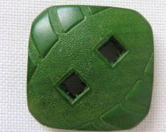 Large wooden green button; impressed leather pattern, vintage, square button, two square holes