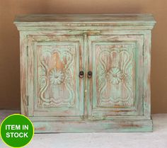 NEW Carved door antique Indian Buffet sideboard Timber Shelf blue Cabinet 100cm
