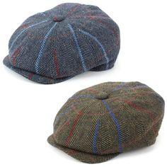 a28a734fbe4 Flat Cap Hat Wool Tweed PEAKY BLINDERS GATSBY NEWSBOY 8 PANEL Driving  Hawkins
