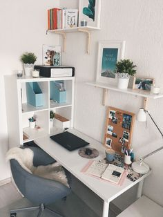 Bright and open office furniture with a white theme and blue accents, . Bright and open office furniture with a white theme and blue accents, # Office equipment Study Room Decor, Cute Room Decor, Cheap Room Decor, Home Office Design, Home Office Decor, Home Decor, Office Ideas, Home Office Bedroom, House Design