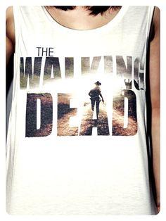 The Walking Dead Shirt Zombie Crop Top Tank Tops T-Shirt Women Sexy SideBoob Shirts Size S, M, L