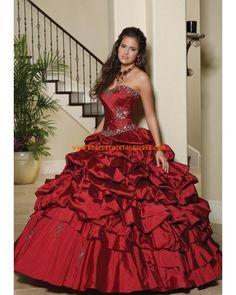 Sans bretelle robe quinceanera verte foncé bourgogne au drapé cristaux robe de bal 2013