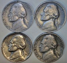 1946 53 56& 1958 CLIP ERROR Jefferson Nickels Clipped LOT of 4 Coins NO RESERVE