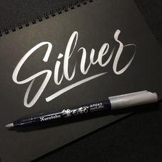 Silver  #lettering #kuretake #metallic