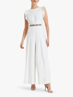 Phase Eight Victoriana Jumpsuit, Cream at John Lewis & Partners