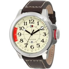 Tommy Hilfiger 1790844 Stainless Steel Sport Watch with Leather Band Beige/Brown Amazing Watches, Beautiful Watches, Cool Watches, Watches For Men, Women's Watches, Wrist Watches, Tommy Hilfiger Watches, Brown Leather Strap Watch, Watch Brands