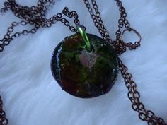 forest green small eggshell pendant on thin copper chain by DezignsbyMel on Etsy