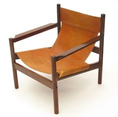 Michael Arnoult; Roxhino and Leather Sling Chair, 1968. Restored one of these recently - original leather still in great shape