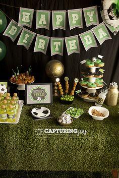 Soccer Sport Birthday Party Theme - plus golden birthday KristenDuke.com