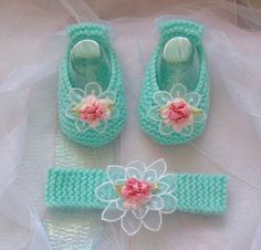 Hand knitted designer baby booties  BOOTIES & HEADBAND SETS Available to order at https://www.facebook.com/just2cuteknits?ref=hl