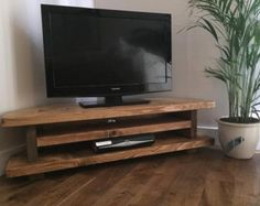 Chunky Rustic TV corner unit heavy solid wood by NewForestRustics