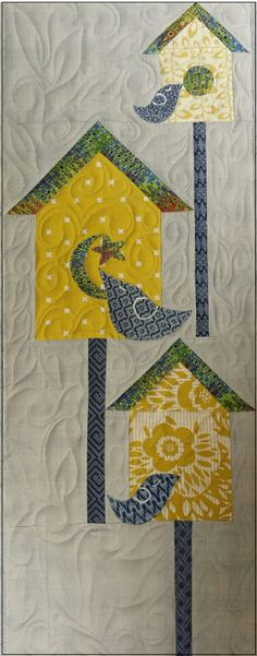 Winter Brrd Houses quilt pattern, close up, by Pati Fried