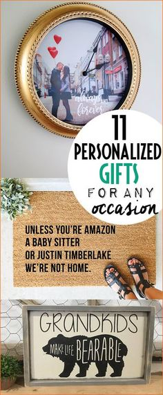 Top Personalized Gifts for Any Occasion. Clever gifting ideas for Christmas, birthdays and weddings. Out of the box gifting ideas for all ages. DIY photo clocks, door mats and plaques for grandparents.