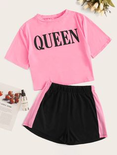 Plus Letter Print Tee With Colorblock Shorts Cute Lazy Outfits, Kids Outfits Girls, Girls Fashion Clothes, Teenager Outfits, Teen Fashion Outfits, Trendy Outfits, Cool Outfits, Cute Pajama Sets, Belly Shirts