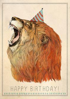 """Birthday Lion"", de Sandra Dieckmann #illustration #lion #SandraDieckmann"