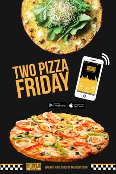 Order now and celebrate the first Friday of the month! Pizza Special, Marketing Program, Have Time, Friday, Yellow