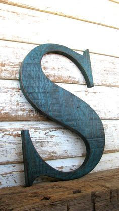 Items similar to Big Wooden Letter S Painted Distressed Teal Blue, Rustic Worn Weathered Barn Wood Letter on Etsy Big Wooden Letters, Rustic Letters, Painted Letters, Letter Wall Decor, Letter Art, Barn Wedding Favors, Love Images With Name, Abc Letra, Ideias Diy