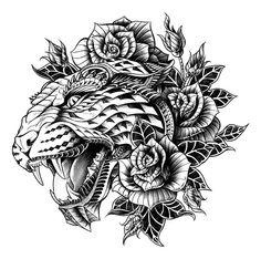 Ornate Leopard Wood Print - BioWorkZ a. Ben Kwok is an L. based graphic artist and illustrator. Tattoo Bein, 1 Tattoo, Tiger Tattoo, Lion Tattoo, Tattoo Drawings, Tattoo Flash, Jaguar Tattoo, Leopard Tattoos, Fenrir Tattoo