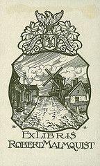 9008[Ex libris Robert Malmquist] (Stifts- och landsbiblioteket i Skara) Tags: windmill by village sweden sverige exlibris bookplates kvarn