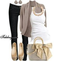 Taupe Cardigan, White Tank Top and Black Skinny Jeans with Beige ...easy look to pull off